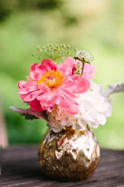 peonies on golden vase at Blooming Hill Farm Wedding