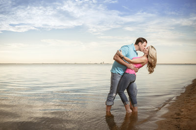 Rachel Hartley and Matt Hester during their engagement shoot in Daphne, Alabama at Bayfront Park.