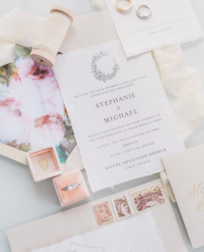 Plume & Fete delicate and elegant destination wedding invitations