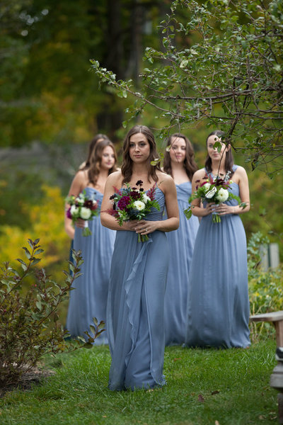 Bridesmaids with bouquets at Southwood Estate in the Hudson Valley. Hudson Valley wedding florist.