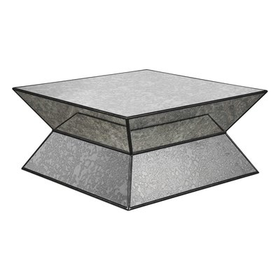 Modern and geometric square coffee table with hourglass shape and frosted mirrors from Hockman Interiors