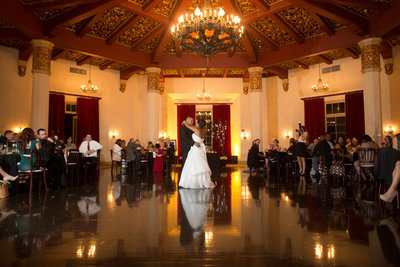 Bride and Groom dancing in ballroom at El Cortez