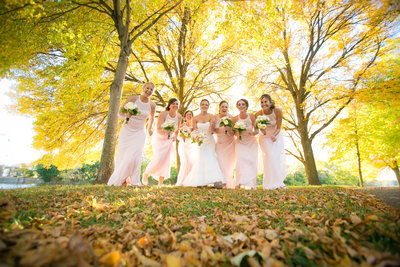 This is a photograph of midwest bridesmaids in a green bay wisconsin wedding