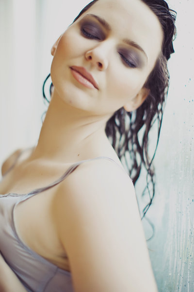 boudoir photo in shower in sacramento