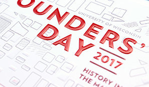 Print event invitation for the University of Wisconsin's Founders' Day by Christie Evenson