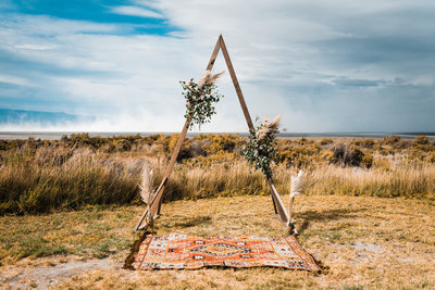 Central Oregon Desert Boho Intimate Wedding Planner Triangle Arch