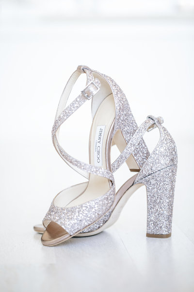 a pair of high   heeled sparkling  jimmy choo