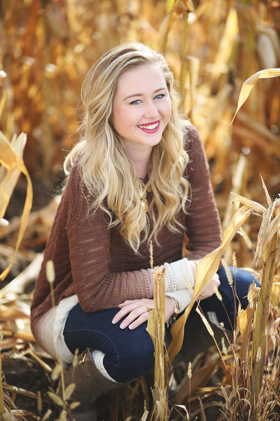 Ralston Valley senior portraits in cornfield at sunset by Leighellen Landskov Photography of Arvada, CO