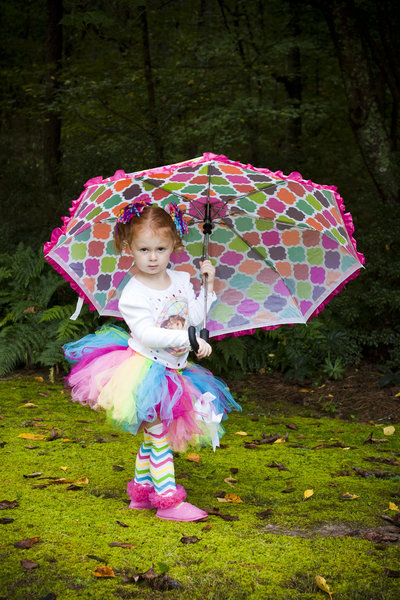 rainbow colored tutu, multi colored umbrella  child