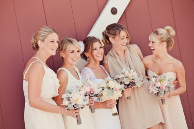 Orange County barn wedding Irvine, CA location Strawberry Farms Golf course with bridesmaids