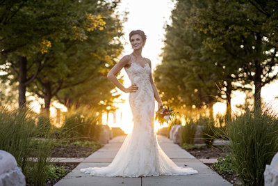 bridal shot at sunset