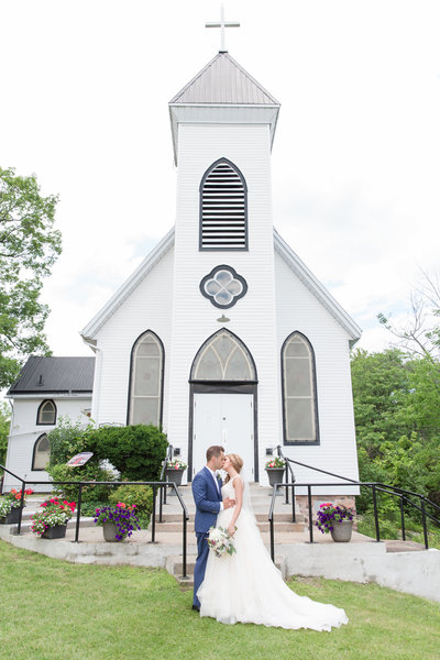 happy couple in front of church, wedding couple, lisa provencal photography