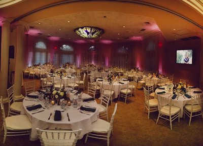 a beautiful sacramento wedding ballroom with lighting