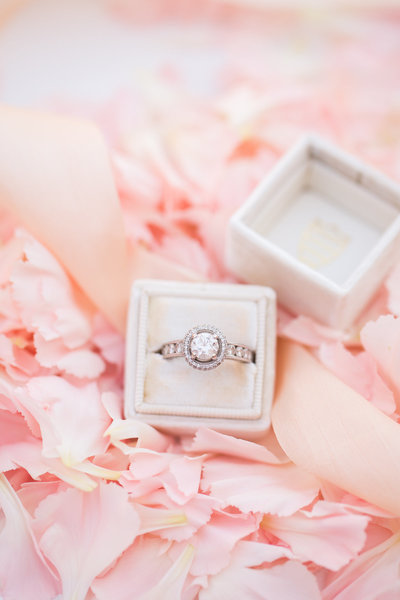 diamond engagement ring with flower petals-1