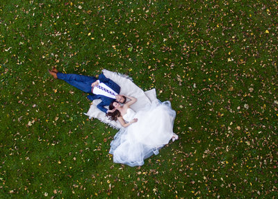 Wisconsin Club Drone Portraits of Bride and Groom