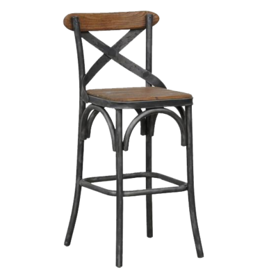 Wood dining stool with backrest from Hockman Interiors