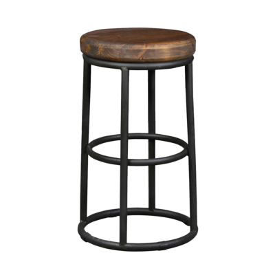 Tall, circular dining stool with tan leather seat and dark metal base from Hockman Interiors