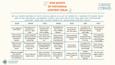 Casey Crowe - 30 Days of Instagram Content Ideas