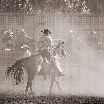A cowboy rides in the rodeo in Livingston, MT