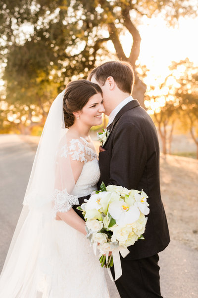 Bride and groom portraits at Villa San Juliette taken by Tayler Enerle at sunset