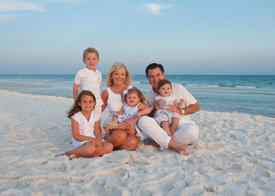 Grandparents on Destin Beach with grandkids