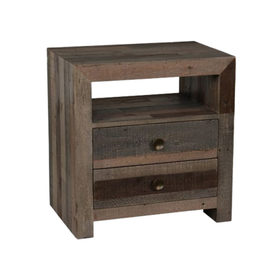 Dark wood nightstand with two drawers at Hockman Interiors