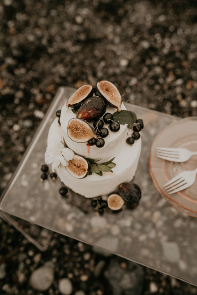 PNW Elopement Wedding Cake Berries Fruit Flowers