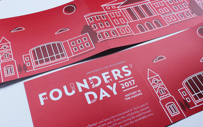 Event branding and collateral for the University of Wisconsin's Founders' Day by Christie Evenson