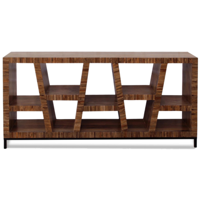 Wooden console with geometric holes at Hockman Interiors