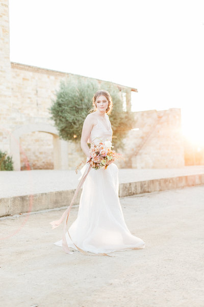 Professional Fine Art Wedding Photography of Bride at California Sunstone Winery Vineyard Villa | Santa Barbara Wedding Venue