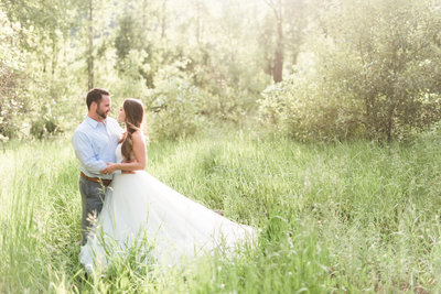 Seattle Bride and Groom in a field