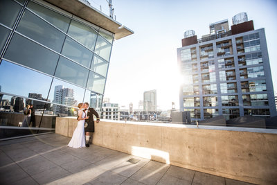 Bride and Groom in kilt at San Diego Central Library