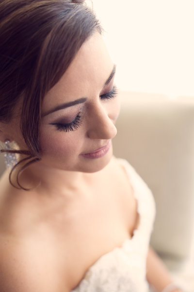 Close-up of a bride portrait.