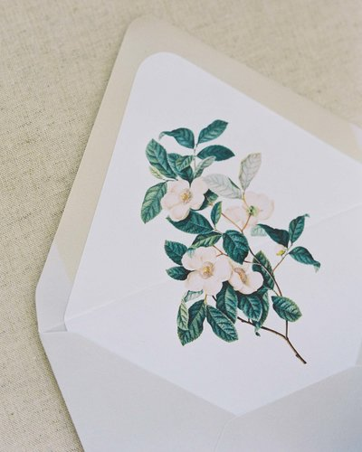 Plume & Fete invitation embellishments antique botanical print envelope liner