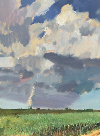 Tall Grass and Lightening 18 X 24 oop 4000