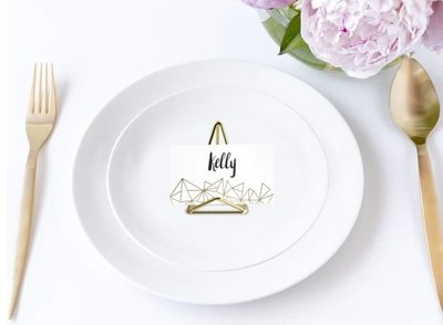 gold place card holder