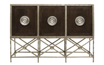 Ornate console with metal and wooden features at Hockman Interiors