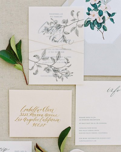 Plume & Fete garden wedding inspired invitation suite with floral illustration