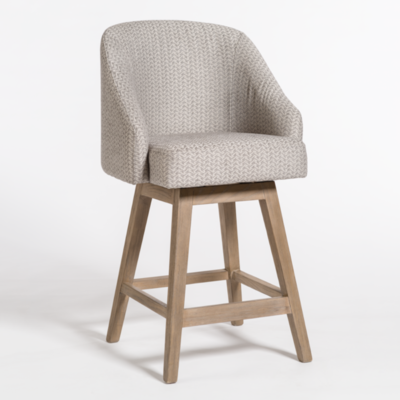 Cream, woven dining stool with backrest and armrests from Hockman Interiors