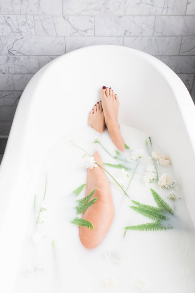 milk bath styled shoot boudoir photography