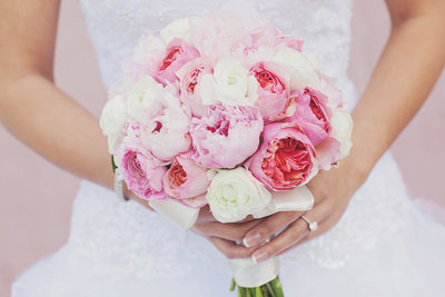 Closeup of bride's bouquet