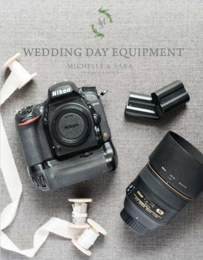 wedding day equipment list with a photograph of nikon camera equiptment
