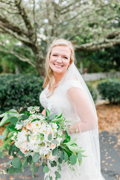 Bridal portrait at Trinity Presbyterian Church in Fairhope by Toni Goodie Photography