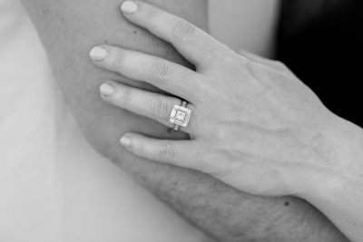 Danielle's beautiful, art deco style ring focused in by Jackelynn Noel Photography