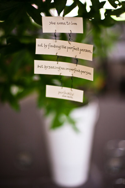 Wedding Detail Quotes and potted plants