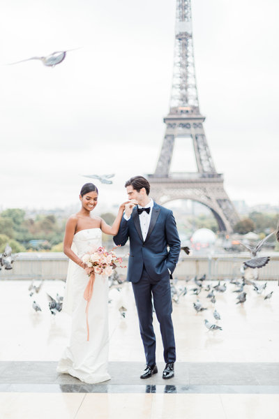 Couple at trocadero at eiffel tower in paris france elopement by Costola Photography