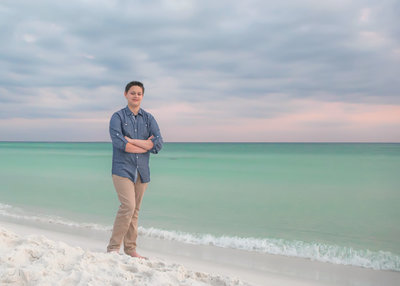 senior boy on the beach in destin florida