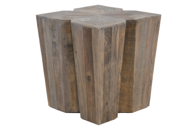Wooden end table with carved out detail at Hockman Interiors