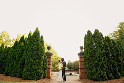 elegant bride and groom at huntsville botanical gardens wedding