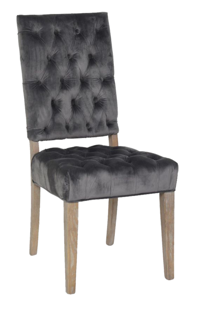 Dark grey dining chair with plush upholstered fabric and light wood legs from Hockman Interiors